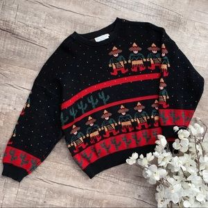 Vintage Sweater Loft NY Black Patterned Sweater